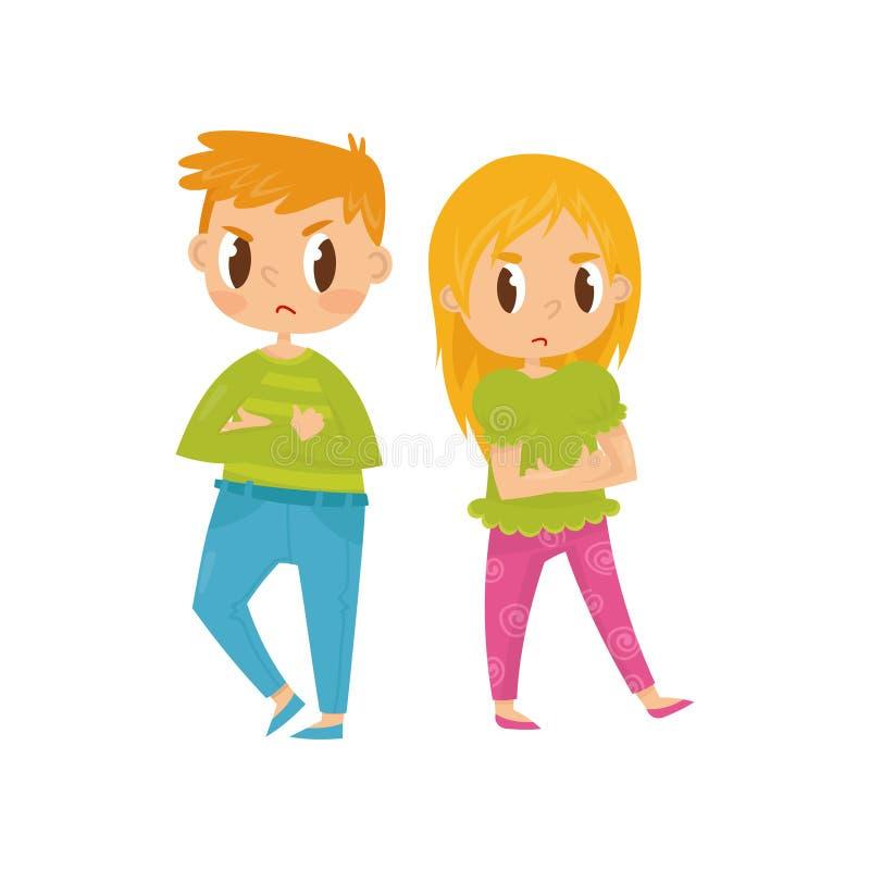 Två lilla ungar, pojke och flicka med korsade armar och ilskna ansiktsuttryck Syskongruppen grälar in Plan vektor vektor illustrationer