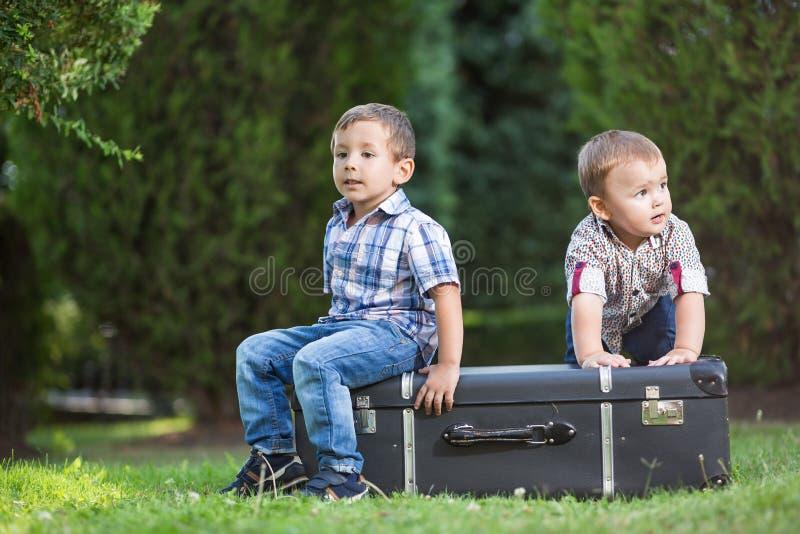 Två lilla ungar som spelar i parkera royaltyfria foton