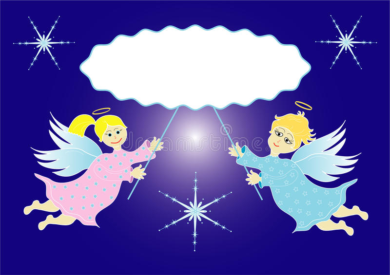 Två lite änglar royaltyfri illustrationer