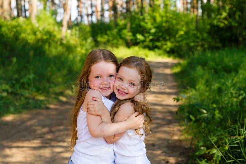 Två liten flickaflickavänner som kramar i skogen fotografering för bildbyråer