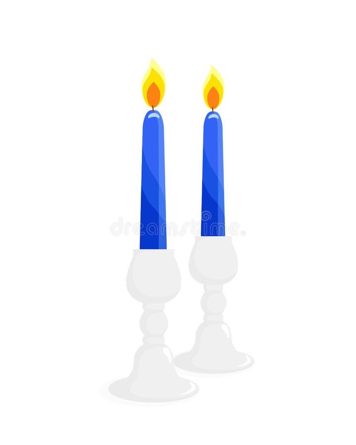 Två ljusstakar med stearinljus royaltyfri illustrationer
