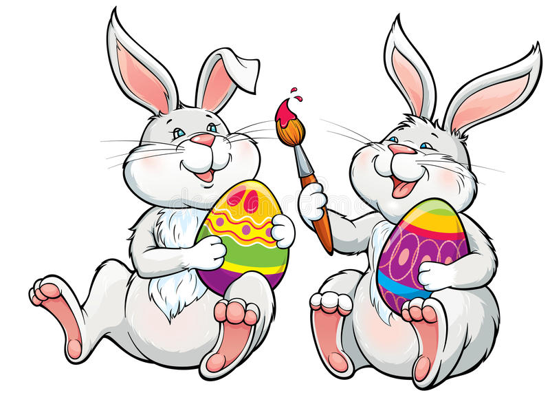Två lyckliga älskvärda kaniner målar de easter äggen royaltyfri illustrationer
