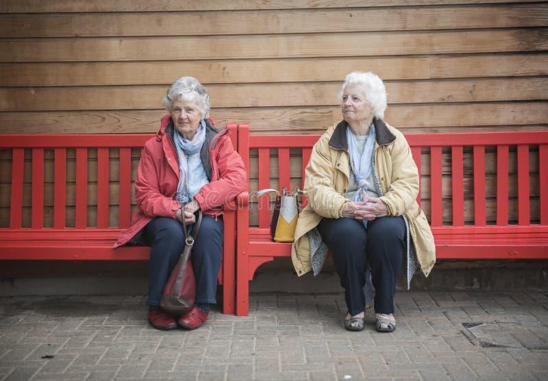 Två lyckliga höga kvinnor som utomhus pratar på en röd bänk royaltyfri bild