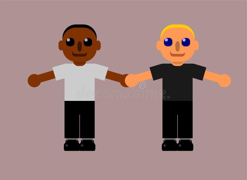Två lyckliga män är leendet och rymmer sig handen för ` s för att visa medräknandet och mångfald vektor illustrationer