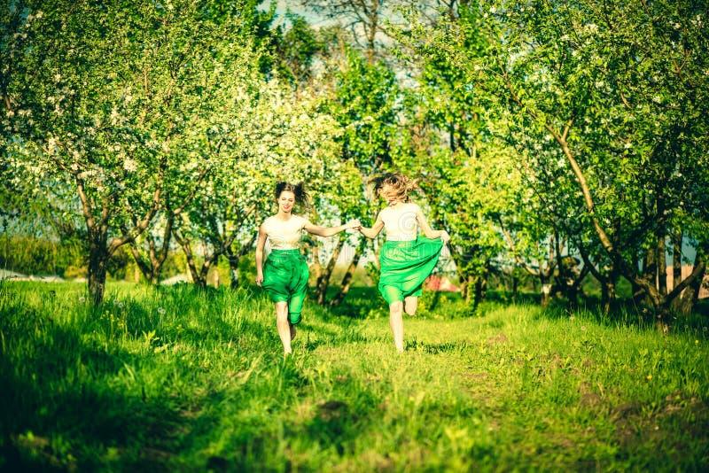 Två lyckliga nätta flickor som går på äppleträden, arbeta i trädgården royaltyfri bild