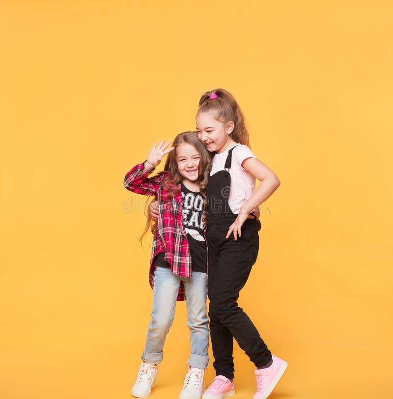Två lyckliga nätta unga systrar, kramar som ler att skratta royaltyfria foton
