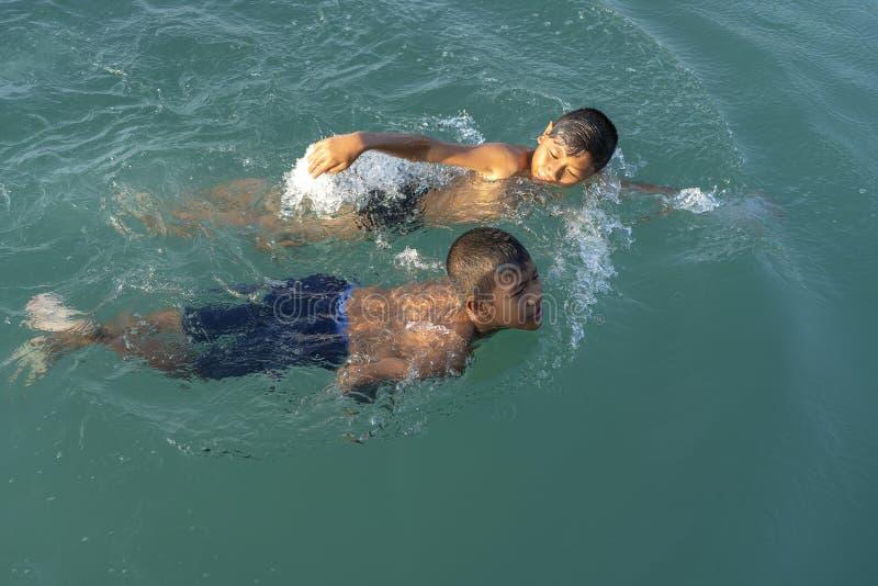Två lyckliga thailändska pojkar simmar i havsvattnet nära stranden på den tropiska ön Koh Phangan, Thailand arkivfoton