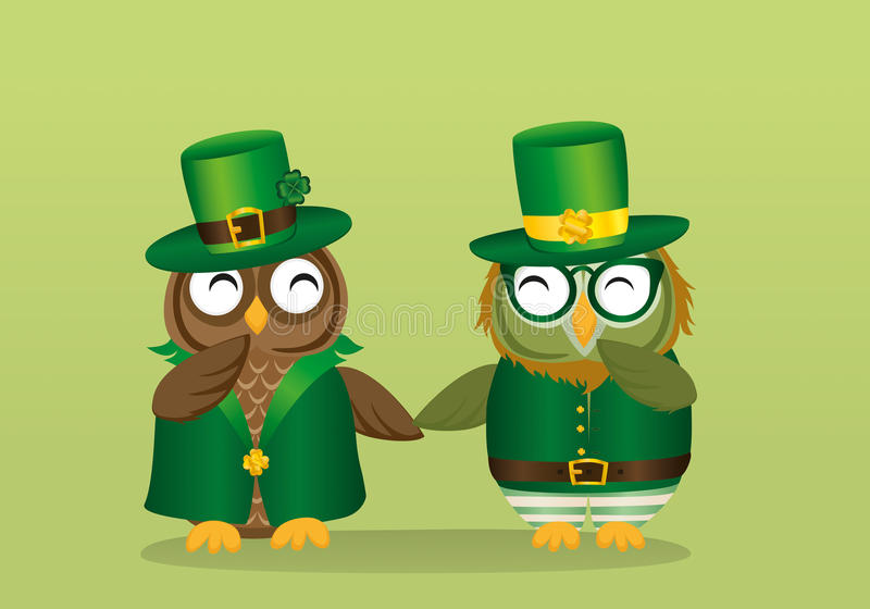 Två lyckliga ugglor i nationell dräkt på händer för innehav för dag för Patrick ` s royaltyfri illustrationer