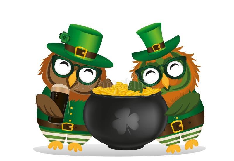 Två lyckliga ugglor med en kruka av guld- mynt i en nationell dräkt stock illustrationer