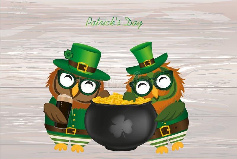 Två lyckliga ugglor med en kruka av guld- mynt i en nationell dräkt vektor illustrationer