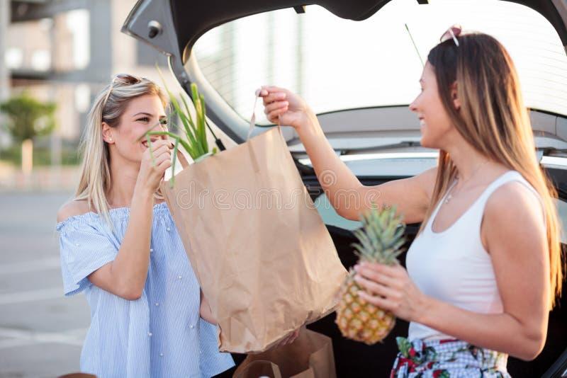 Två lyckliga unga kvinnor som laddar pappers- livsmedelsbutikpåsar in i en bilstam royaltyfri foto