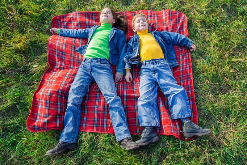 Två lyckliga ungar på ängen fotografering för bildbyråer