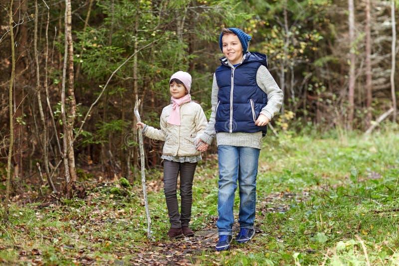 Två lyckliga ungar som promenerar skogbanan royaltyfri foto