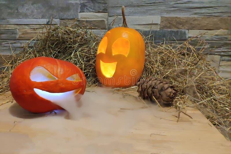 Två lyktor för halloween stålarnolla som är gula och som är röda med rök på förgrund på en hö- och tegelstenväggbakgrund med kott fotografering för bildbyråer