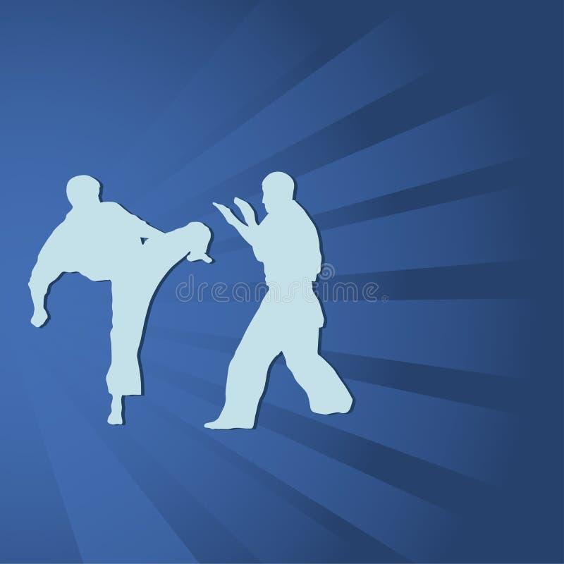 två män är förlovade i karate stock illustrationer