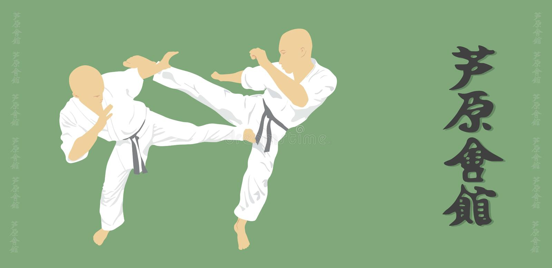 Två män är förlovade i karate på en grön backgroun vektor illustrationer