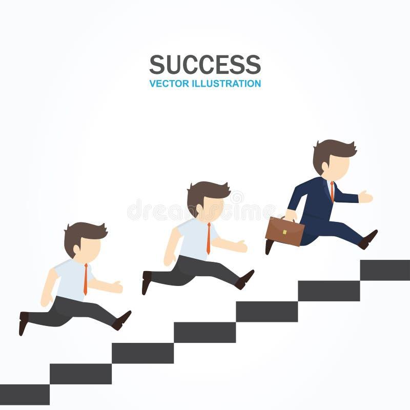 Två män följer deras ledare som spring upp till trappan stock illustrationer