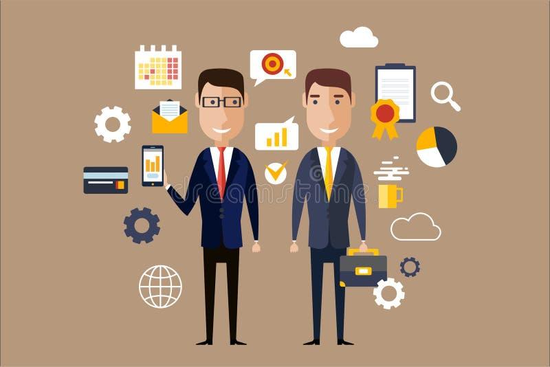 Två män i formella klassiska dräkter som omges med affärssymboler Lyckat partnerskap, karriärtema Företags lägenhet royaltyfri illustrationer