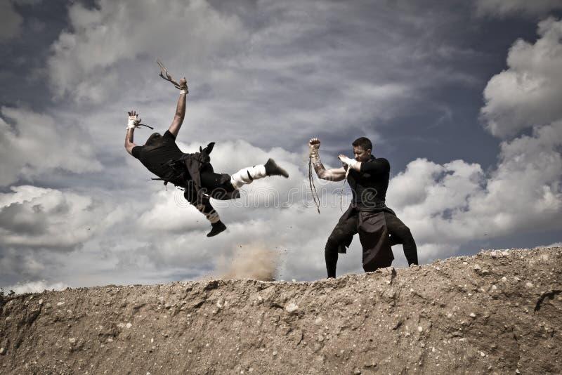 Två män slåss royaltyfri bild