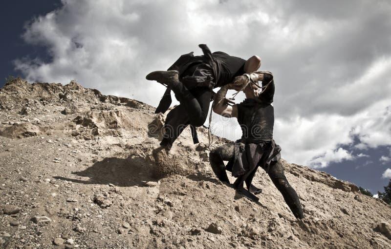 Två män slåss royaltyfri fotografi