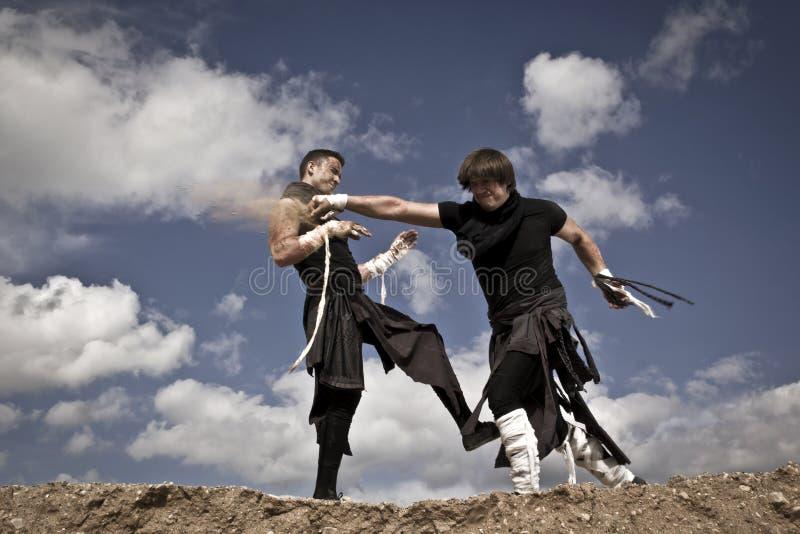 Två män slåss royaltyfria foton