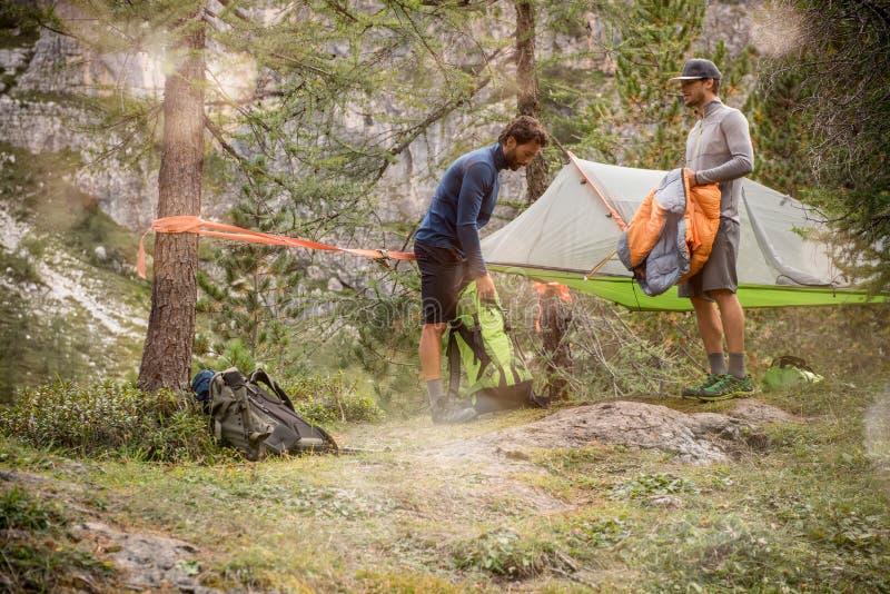 Två män som förbereder det hängande tältet som campar nära skogträn Grupp av resan för affärsföretag för vänfolksommar i berg arkivbild