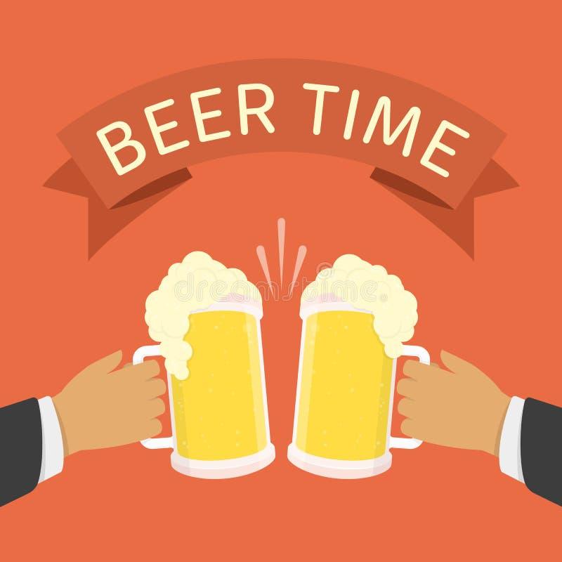 Två män som rymmer öl, rånar royaltyfri illustrationer