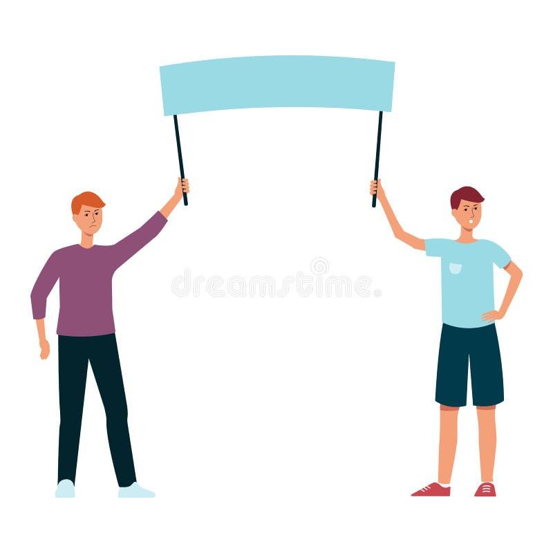 Två män som rymmer det tomma protesttecknet stock illustrationer