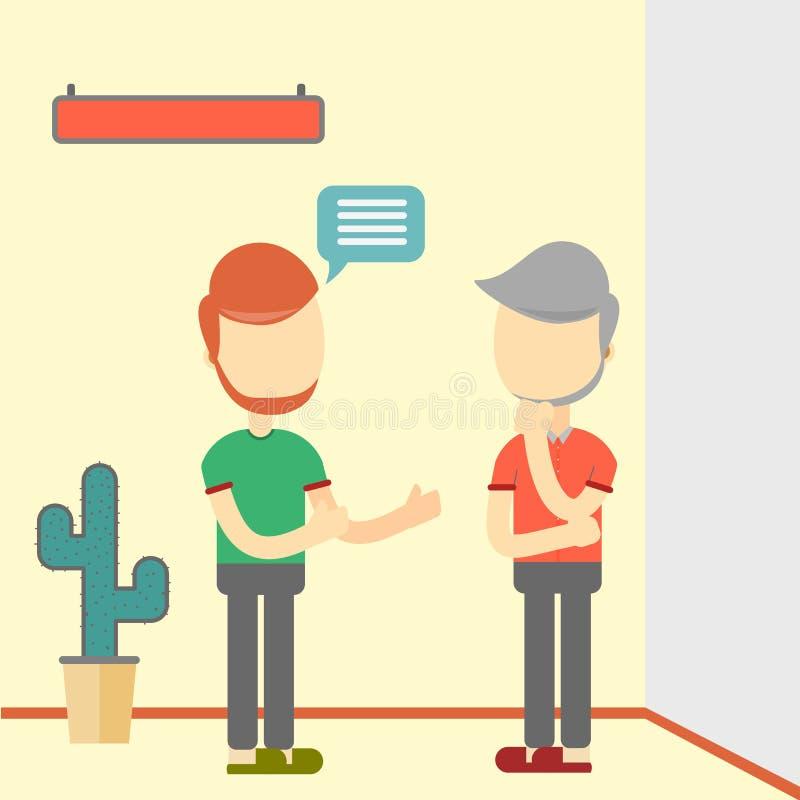 Två män som talar om affär Plan design stock illustrationer