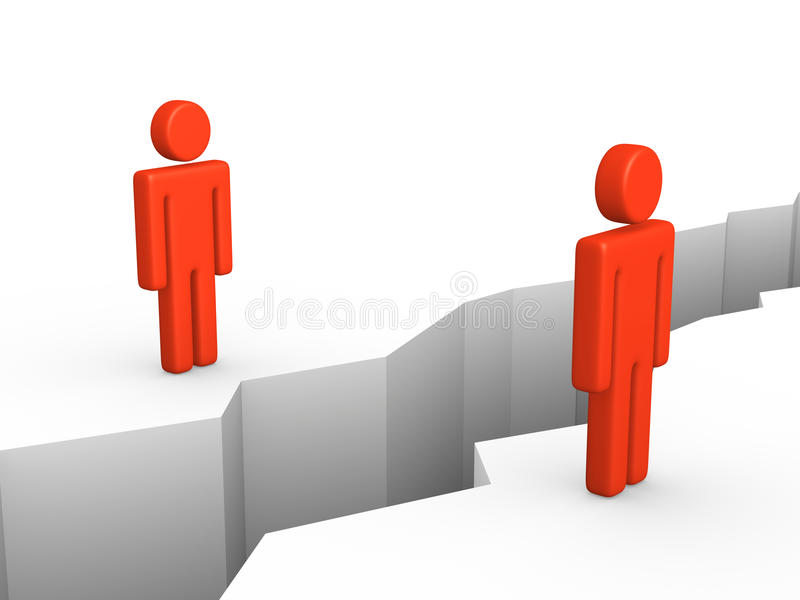 Två människor som avskiljs av brytningen vektor illustrationer