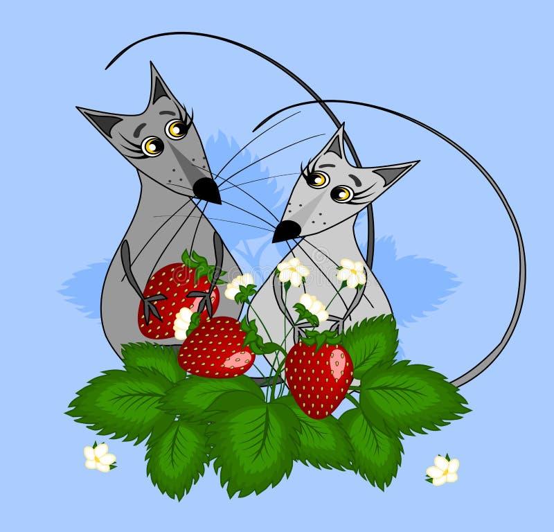 Två möss som är förälskade med ett bär i deras, tafsar är i jordgubbebuskar Illustration p? en bl? bakgrund stock illustrationer