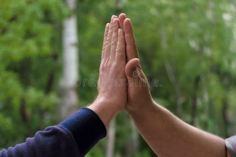 Två mötande hälsning för män höga fem Begrepp av lyckliga och lyckade affärskollegor som ger högt fem Nära övre sikt på gräsplan royaltyfria bilder