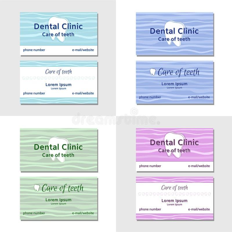 Två mallar för affärskort för tand- kliniker royaltyfri illustrationer