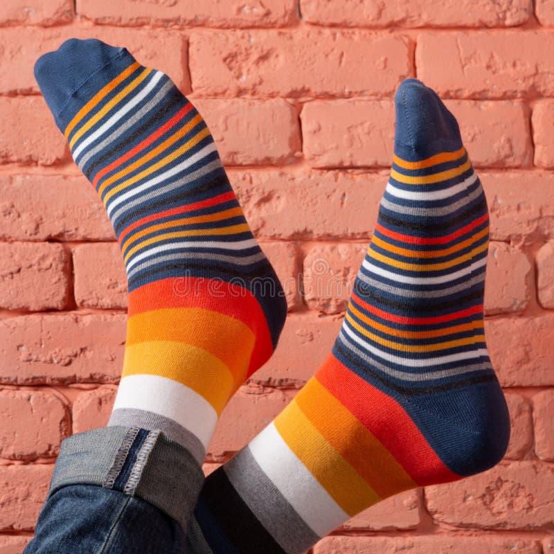 Två manliga ben i kulöra sockor, closeup, på en bakgrund för tegelstenvägg royaltyfria bilder
