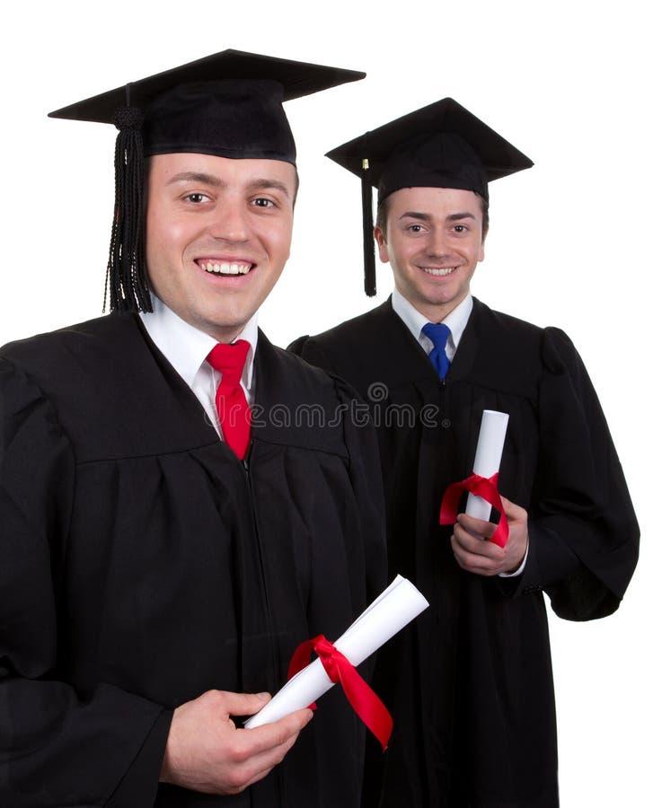 Två manliga kandidater med snirklar som isoleras på vit arkivfoto
