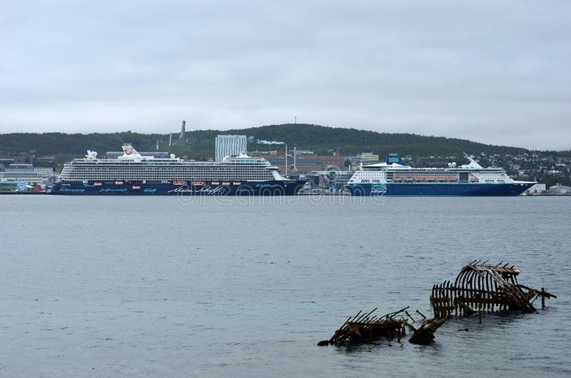 Två massiva kryssningskepp i tromsoestadshamn på en mulen dag royaltyfri foto