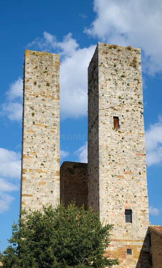 Två medeltida torn royaltyfria foton