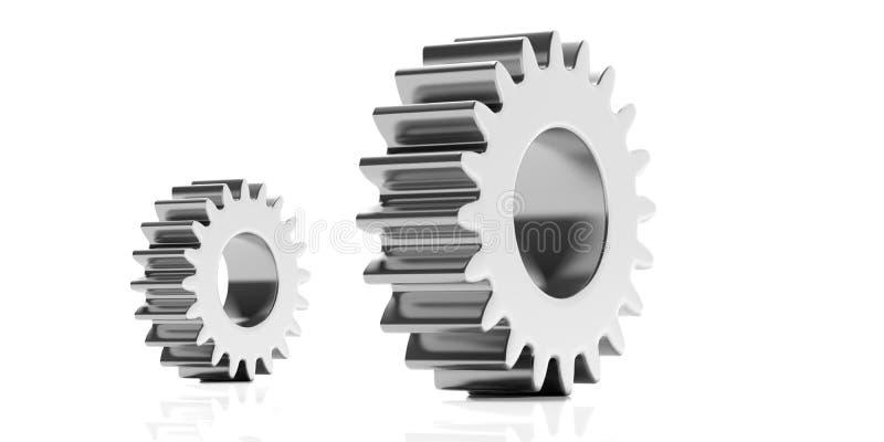 Två metallkugghjul som isoleras på vit bakgrund illustration 3d stock illustrationer