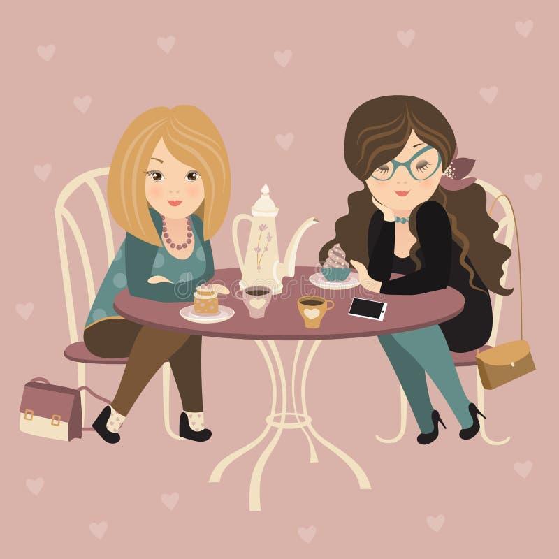Två modeflickor som pratar på ett kafé royaltyfri illustrationer
