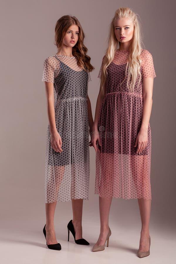 Två modeller i genomskinliga klänningar som poserar på rosa bakgrund royaltyfri foto
