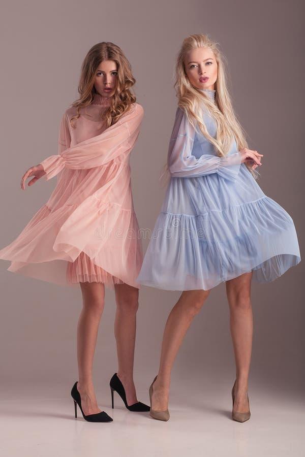 Två modeller i genomskinliga klänningar som poserar i studio på grå backg royaltyfri bild