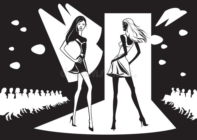 Två modemodeller föreställer ny kläder vektor illustrationer