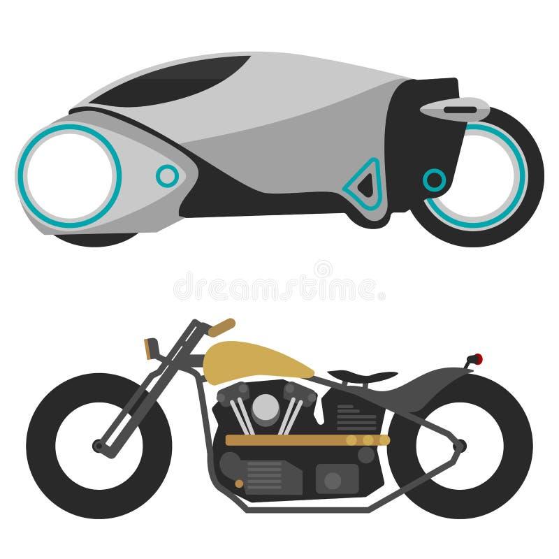 Två motorcyklar på vit, modern futuristisk motobike och den gamla retro motorcykeln vektor illustrationer
