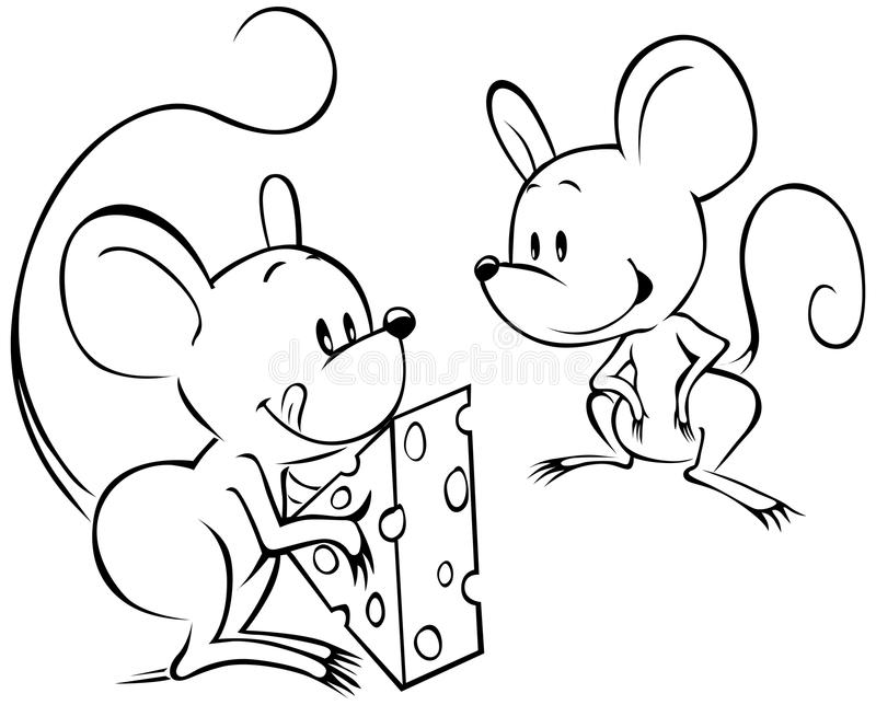Två mouses med ost royaltyfri illustrationer