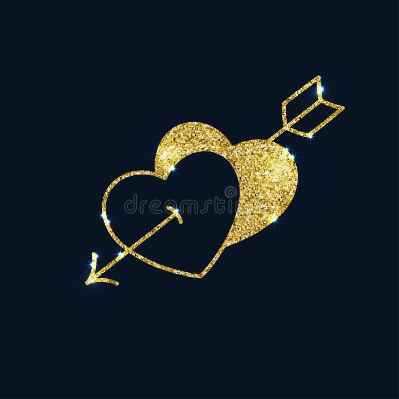 Två mousserande guld- hjärtor som trängas igenom av en pil Glitter texturerade vektor illustrationer