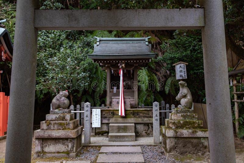 Två musstatyer och relikskrin som inramas mellan toriiporten på den Otoyo Jinja relikskrin av Kyoto royaltyfria bilder