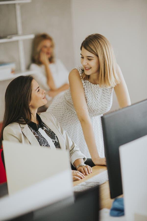 Två nätta Caucasian affärskvinnor som tillsammans arbetar på skrivbordet royaltyfria bilder