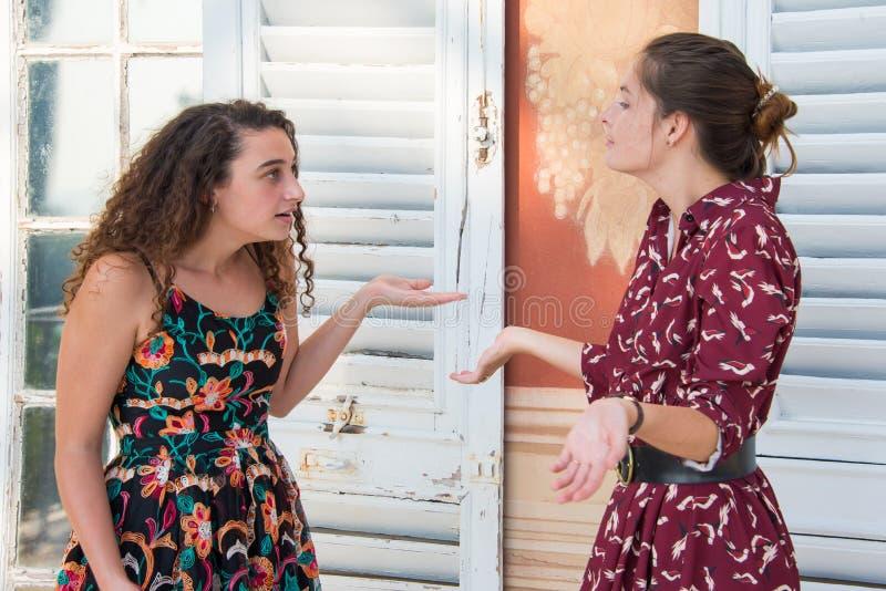 Två nätta flickor argumenterar royaltyfria foton