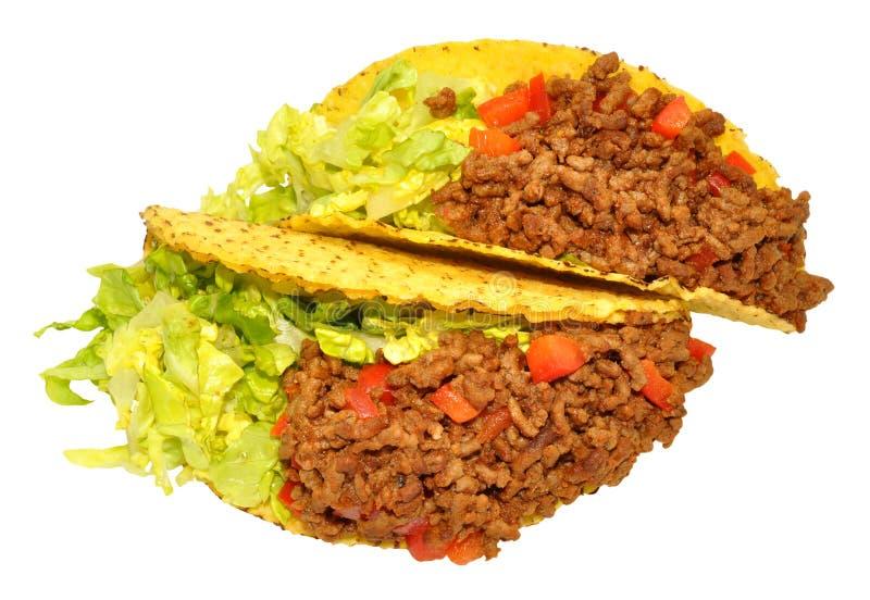 Två nötkött fyllda taco arkivfoton