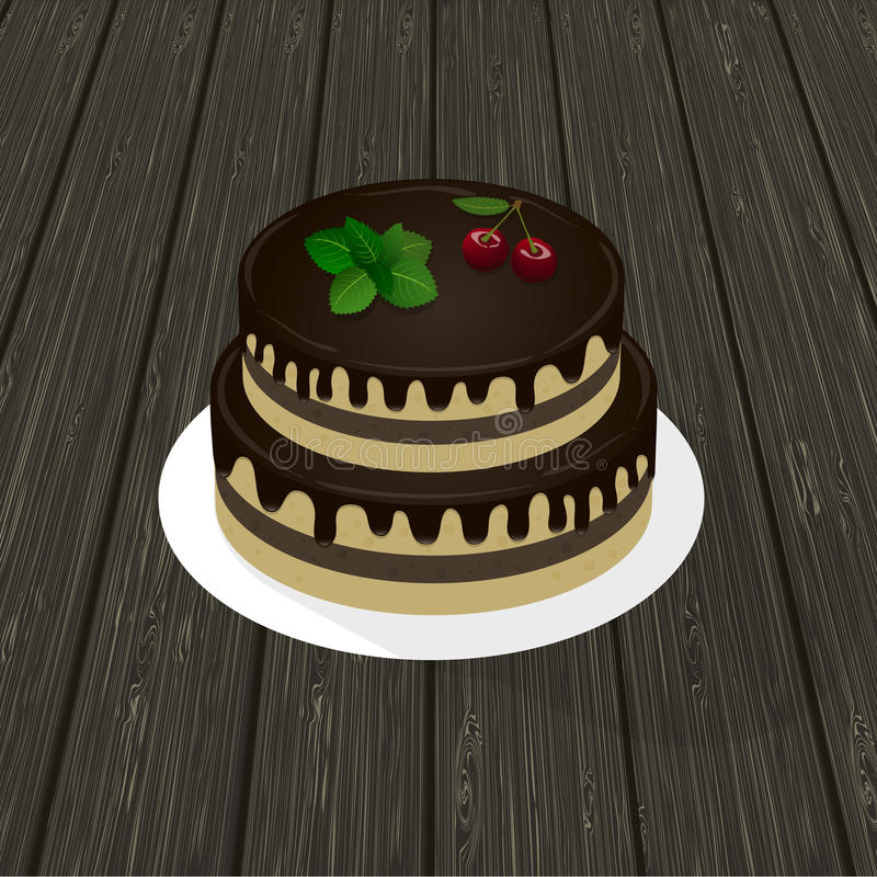 Två-nivå ljusbrun chokladkaka med mintkaramellkvisten och körsbär på en platta wood textur i bakgrunden royaltyfri illustrationer